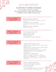 SALT Restaurant Valentines Dinner Package 2021